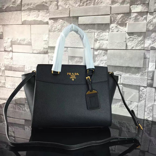 2017 S/S Prada Grained Calf Leather Tote Bag in Black