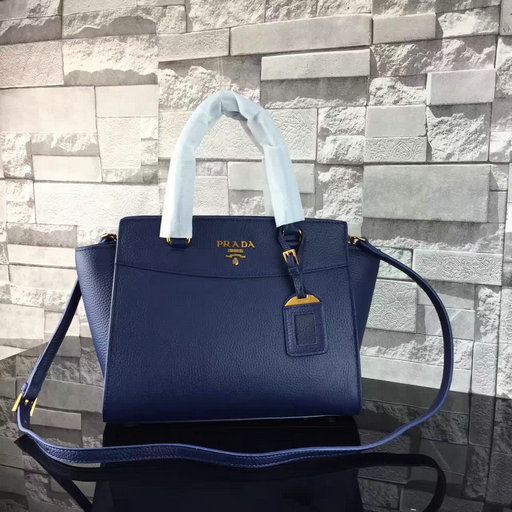 2017 S/S Prada Grained Calf Leather Tote Bag in Blue