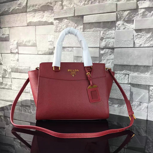 2017 S/S Prada Grained Calf Leather Tote Bag in Burgundy