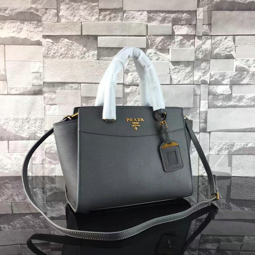 2017 S/S Prada Grained Calf Leather Tote Bag in Dark Grey