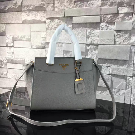 2017 S/S Prada Grained Calf Leather Tote Bag in Light Grey