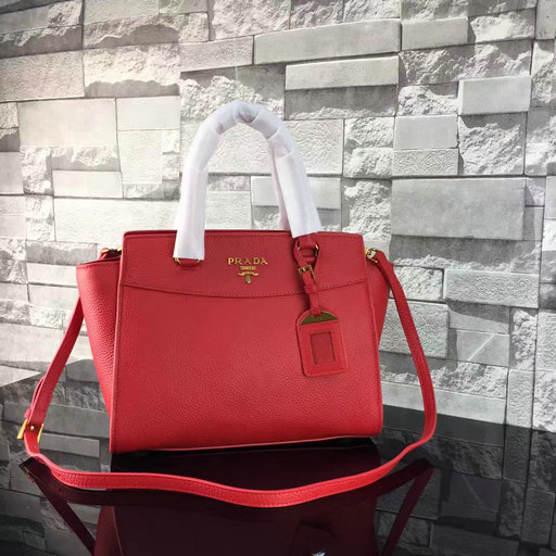2017 S/S Prada Grained Calf Leather Tote Bag in Red