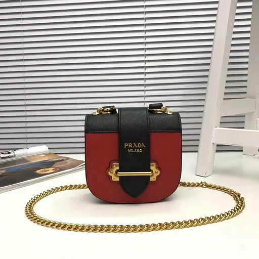 2017 New Prada Pionniere Saffiano and Calf Leather Bag in Red+Black