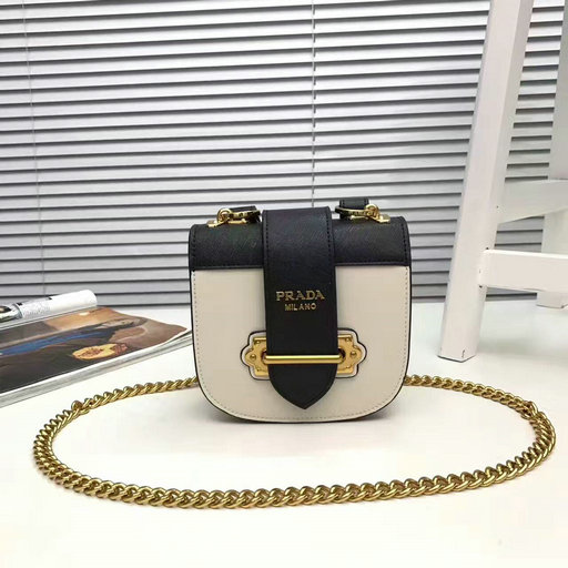 2017 New Prada Pionniere Saffiano and Calf Leather Bag in White+Black