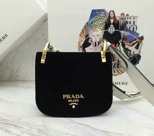 2017 New Prada Pionniere Black Velvet Bag 1BD039 with White Shoulder Strap