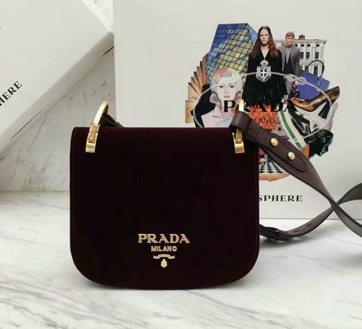 2017 New Prada Pionniere Velvet Bag 1BD039 in Burgundy