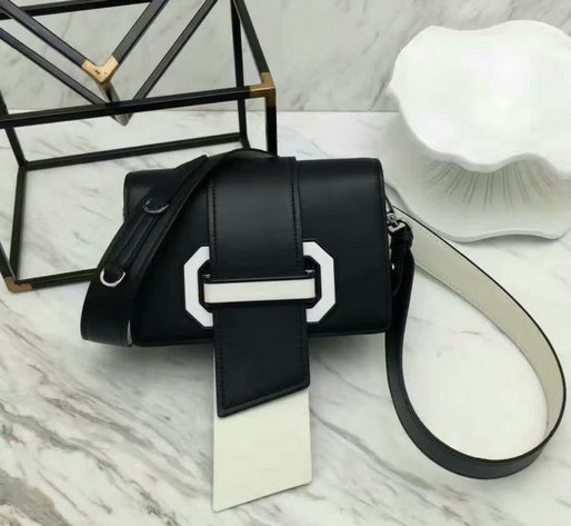 2017 New Prada Plex Ribbon Calf Leather Bag in Black+White
