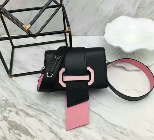 2017 New Prada Plex Ribbon Calf Leather Bag in Black+Pink