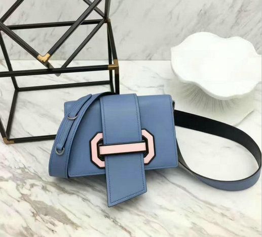2017 New Prada Plex Ribbon Calf Leather Bag in Astral Blue+Rose Pink