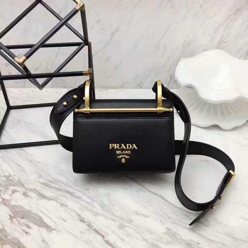 2017 New Prada Calf Leather Shoulder Bag Black with Bronze hardware
