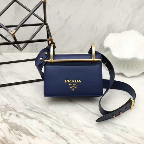 2017 New Prada Calf Leather Shoulder Bag Blue with Bronze hardware