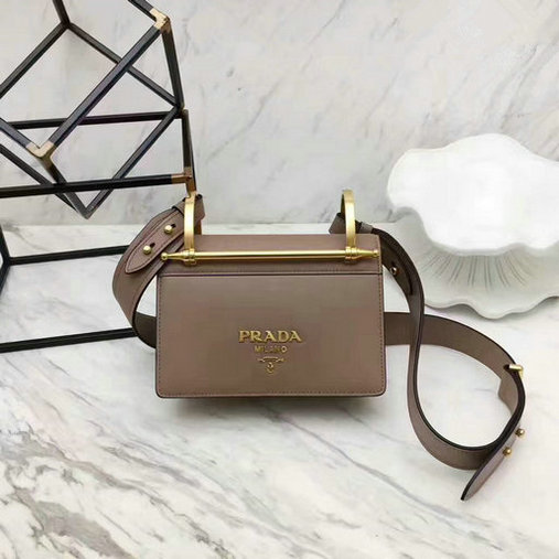 2017 New Prada Calf Leather Shoulder Bag Cameo with Bronze hardware