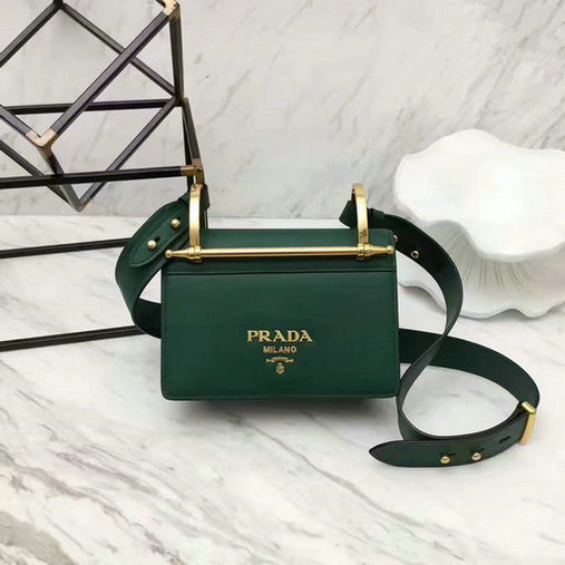 2017 New Prada Calf Leather Shoulder Bag Green with Bronze hardware