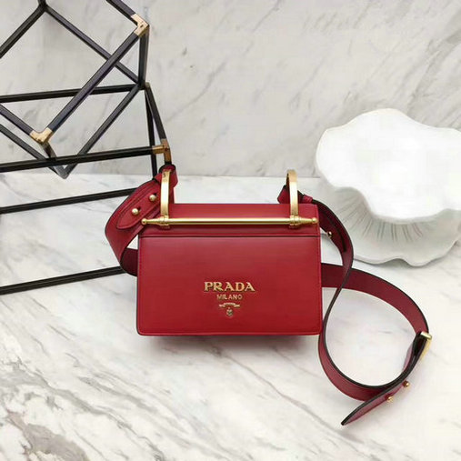 2017 New Prada Calf Leather Shoulder Bag Red with Bronze hardware