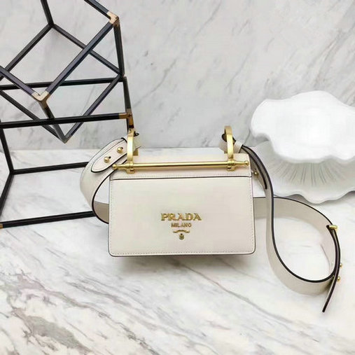 2017 New Prada Calf Leather Shoulder Bag White with Bronze hardware