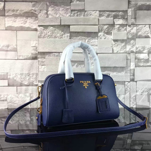 2017 Spring Prada Grained Calf Leather Top Handle Bag 1BA569 in Blue
