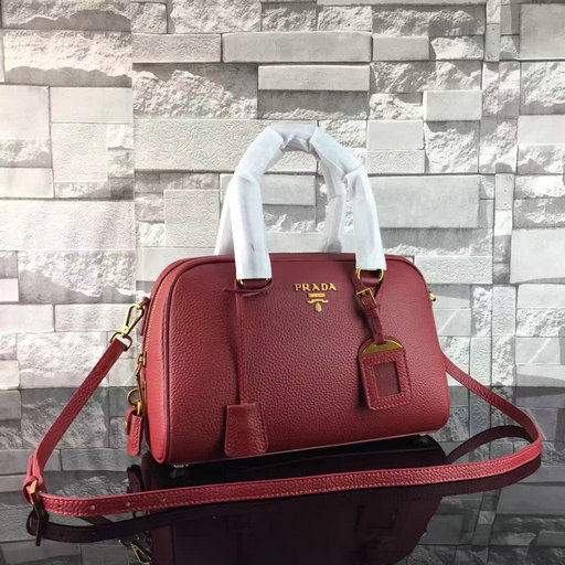 2017 Spring Prada Grained Calf Leather Top Handle Bag 1BA569 in Burgundy