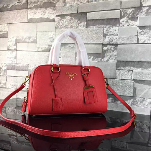 2017 Spring Prada Grained Calf Leather Top Handle Bag 1BA569 in Red