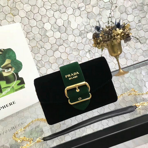 2017 New Prada Velvet Shoulder Bag 1BH052 in Black/Green