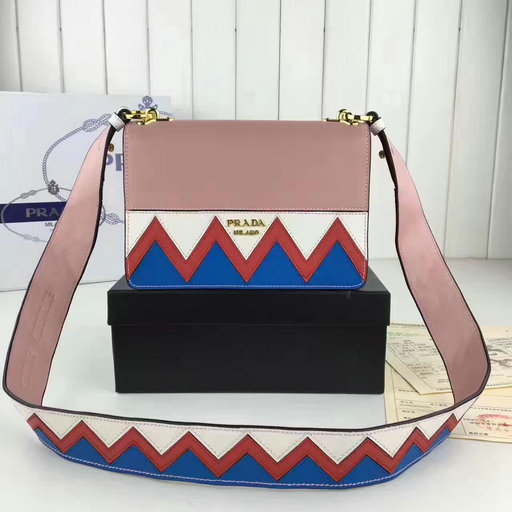 f409b3fc72 2017 New Prada Shoulder Bag in smooth calf leather with three-tone saffiano zig  zag larger image