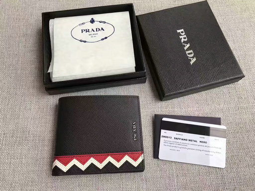 2017 New Prada Saffiano Leather Wallet with intarsia details