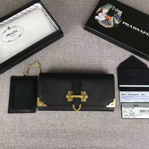 2017 New Prada Saffiano Leather Metal Flap Wallet 1MH132 in Black