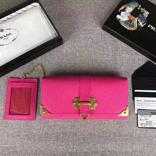 2017 New Prada Saffiano Leather Metal Flap Wallet 1MH132 in Peony Pink