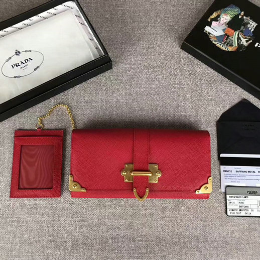 2017 New Prada Saffiano Leather Metal Flap Wallet 1MH132 in Red