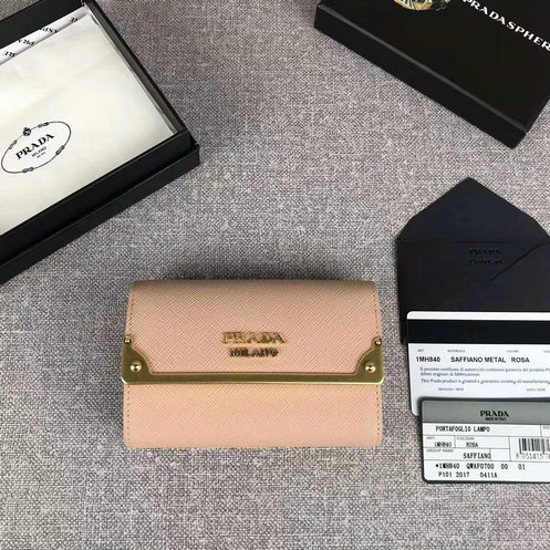 2017 New Prada Saffiano Leather Metal Flap Wallet for Women