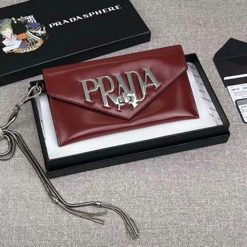 2018 S/S Prada Leather Clutch Bag 1MF175 in Burgundy