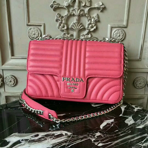 2018 S/S Prada Diagramme Leather Shoulder Bag 1BD108 in Peony Pink Calfskin Leather