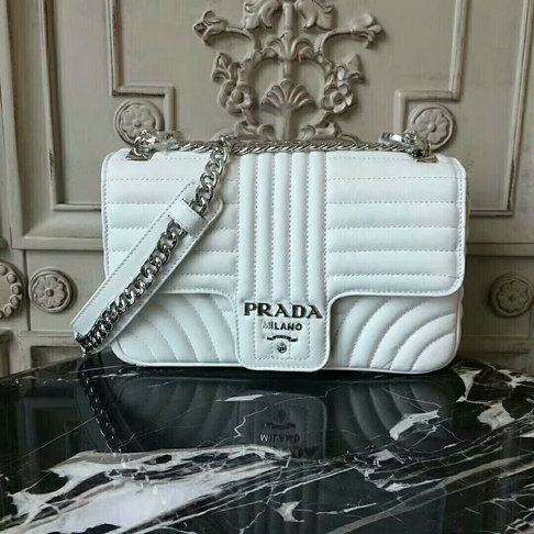 2018 S/S Prada Diagramme Leather Shoulder Bag 1BD108 in White Calfskin Leather