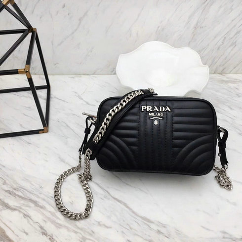 2018 S/S Prada Diagramme Leather Cross-body Bag in Black