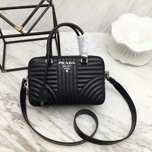 e87c84d1d60e 2018 S S Prada Diagramme Handbag 1BB113 in Black Calfskin Leather larger  image