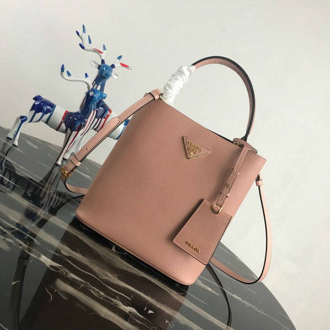 2018 A W Prada Double Medium Bucket Bag in Powder Saffiano Leather larger  image 85c4472705d2b
