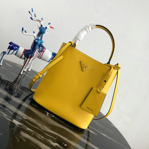 2018 A/W Prada Double Medium Bucket Bag in Yellow Saffiano Leather