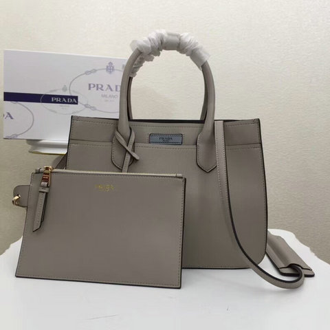 2018 Cheap Prada Dual Calf Leather Bag in Grey