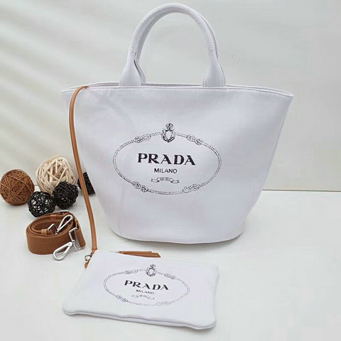 2018 Cheap Prada Hemp Fabric Handbag 1BG163 in White