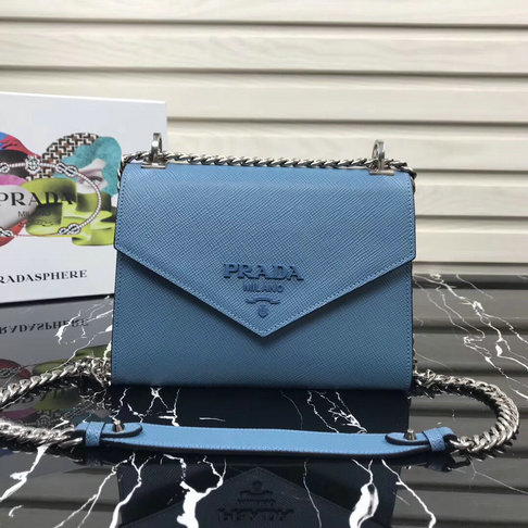 2018 Prada Monochrome Saffiano Leather Bag 1BD127 in Aviation Blue