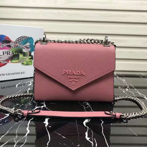 6873495339a3 2018 Prada Monochrome Saffiano Leather Bag 1BD127 in Petal Pink larger image