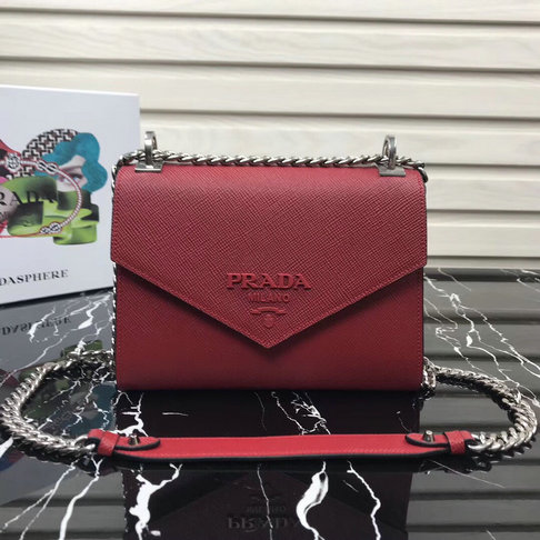 2018 Prada Monochrome Saffiano Leather Bag 1BD127 in Red