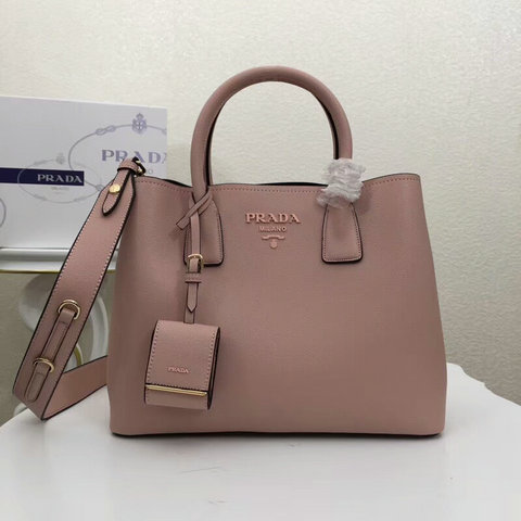 2018 Cheap Prada Monochrome Tote Bag in Nude Calf Leather