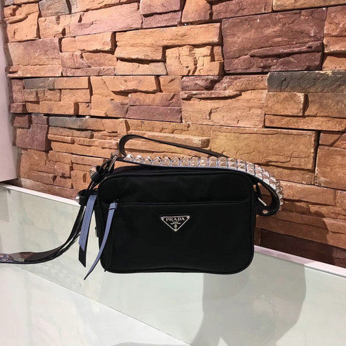 2018 S/S Prada Black Nylon Shoulder Bag with stud and leather embellishment
