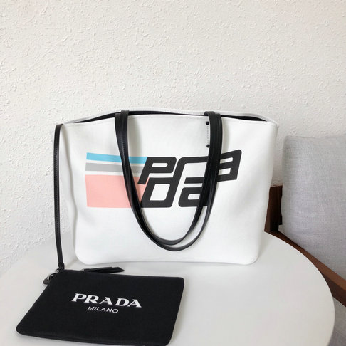 2018 S/S Prada Printed Canvas Tote in White/Black