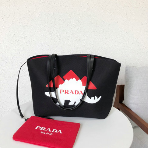 1368055a1032 2018 S S Prada Printed Canvas Tote in Black Red