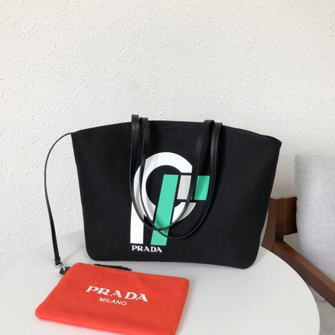 2018 S/S Prada Printed Canvas Tote in Black/Red