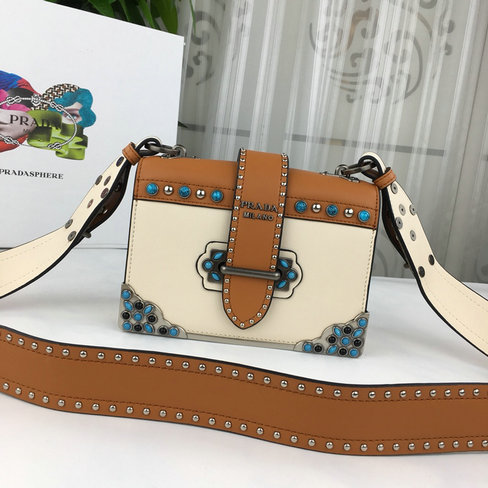 2018 Cheap Prada Studded Cahier Calf Leather Bag 1BD045 for sale