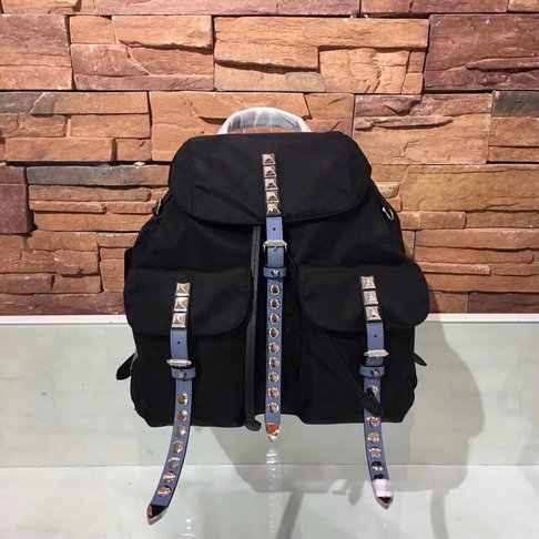 2018 S/S Prada Black Nylon Backpack with stud and leather embellishment