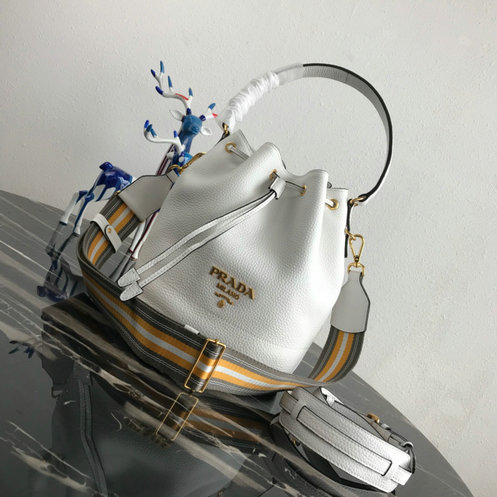 6947b5a2b1cce9 2019 Prada Leather Bucket Bag White with multicolored fabric shoulder strap  larger image