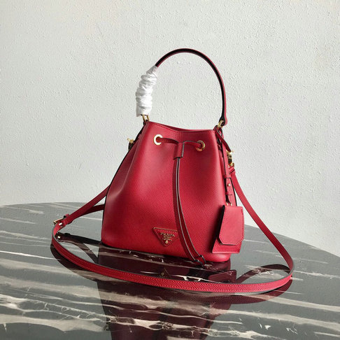 2019 Prada Saffiano Leather Bucket Bag in Red